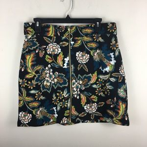 INC floral mini skirt with exposed front zipper
